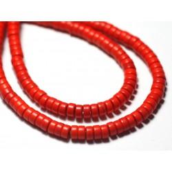 20pc - Perles de Pierre Turquoise Synthèse Rondelles Heishi 4x2mm Rouge Bordeaux - 7427039729819