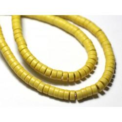 20pc - Perles de Pierre Turquoise Synthèse Rondelles Heishi 4x2mm Orange - 7427039729826