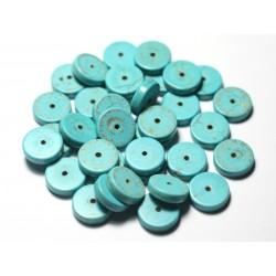 2pc - Perles de Pierre Turquoise Synthèse Étoiles 35mm Bleu Turquoise - 7427039730907