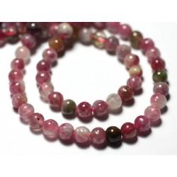 Fil 39cm 110pc env - Perles de Pierre - Tourmaline Multicolore Boules 4mm
