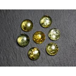 1pc - Cabochon Ambre naturelle verte Rond 12mm - 7427039731836