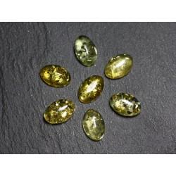 2pc - Cabochons Ambre naturelle Ovales 8x6mm Vert noir jaune - 7427039731881
