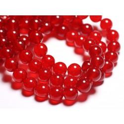 Fil 39cm 36pc env - Perles de Pierre - Jade Boules 10mm Rouge vif