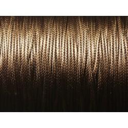 5 Mètres - Cordon de Coton Ciré 1mm Marron Brun Café 4558550016041