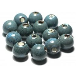 4pc - Perles Céramique Porcelaine Bleu Turquoises Boules 16mm 4558550012142