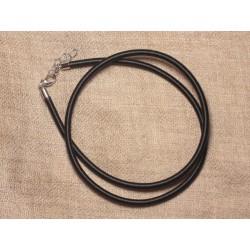 1pc - Collier Tour de cou Soie Noir 48cm 4558550031730