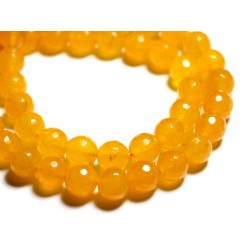Fil 39cm 64pc env - Perles de Pierre - Jade Boules Facettées 6mm Jaune
