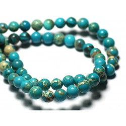 Fil 39cm 80pc env - Perles de Pierre - Jaspe Sédimentaire Boules 4mm Bleu ciel beige
