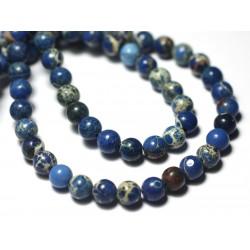 20pc - Perles de Pierre - Jaspe Sédimentaire Boules 4mm Bleu Turquoise - 7427039733182
