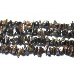 140pc env - Perles de Pierre - Bronzite Rocailles Chips 5-11mm - 8741140022447