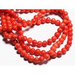 Fil 39cm 67pc env - Perles de Pierre - Jade Boules 6mm rouge orange vermillon