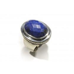 Bague Argent 925 et Lapis Lazuli Ovale Facetté 20x15mm