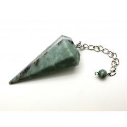 Pendule facetté 70x30 mm jade vert
