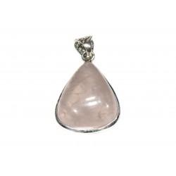 Pendentif argent 925 quartz rose ovale 15x20 mm