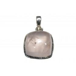 Pendentif argent 925 quartz rose carré 16 mm