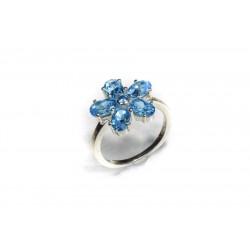 Bague argent 925 fleur topaze bleue