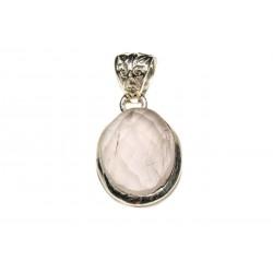 Pendentif argent 925 quartz rose facetté ovale 18x12 mm