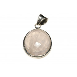 Pendentif argent 925 quartz rose facetté ovale 15x2 mm