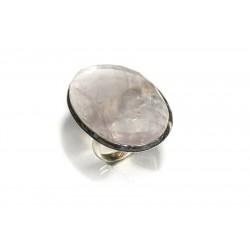 Bague argent 925 et quartz rose facetté ovale 25x40 mm taille 59