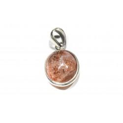 Pendentif argent 925 et pierre de soleil ovale 16x12 mm