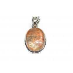 Pendentif argent 925 et pierre de soleil ovale 25x15 mm