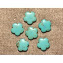 Fleurs 20mm Perles Turquoise Synthèse